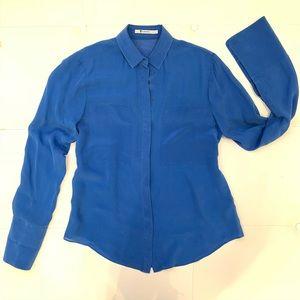 T by ALEXANDER WANG Silk Cobalt Blouse Sz M